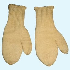 A Darling Pair of Antique Wool Mittens for Your Doll