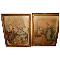 2 Early Fashion Framed French Prints