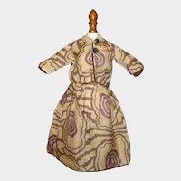 Nice Early Brown and Purple Doll Dress, China, Lady