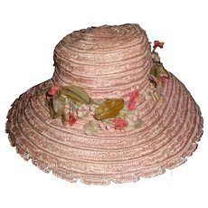 Vintage Pink Straw Madame Alexander Doll Hat