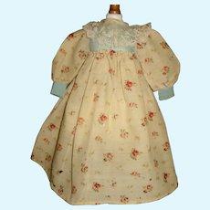 Sweet Antique Challis Wool Floral Bebe Doll Dress