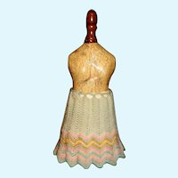 Small Early Wool Knit Doll Skirt with Petticoat