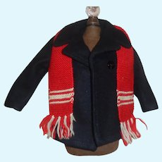 Wonderful Navy Blue  Pea Coat with Red Knit Scarf, Boy Doll