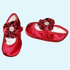 Sweet Pair of Red Velvet Baby / Doll Shoes