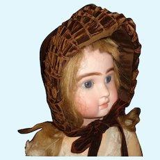 Lovely Brown Wool Antique Large Doll Bonnet, Velvet Trim