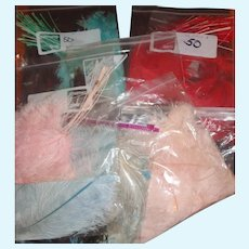8 Bags of Various Color Millinery Feathers for Doll Hats