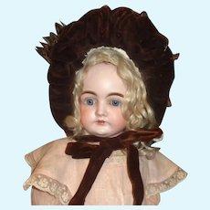 Antique Framed Brown Straw Doll Bonnet, Velvet Trim. Feather