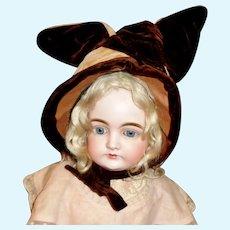 Sweet Brown Velvet Antique Doll Bonnet, Velvet Ears
