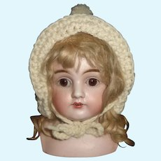 Cute White Wool Knit Doll Bonnet, Pom Pom