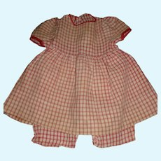 Cute Red and White Check Cotton Doll Dress w Attached Bloomers