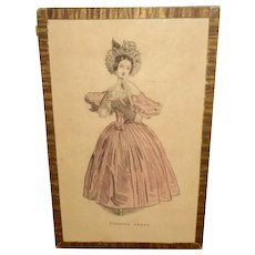 Early Framed French Print Evening Dress, Possibly Godey