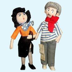 Cute Small Vintage Cloth French Dolls, Adagio Dancers.