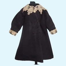 Nice Black Early Doll Coat with Ecru Crocheted Lace Trim