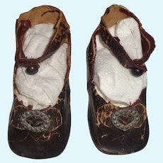 Pair of Large 8 Antique Brown Leather Bru Doll Shoes