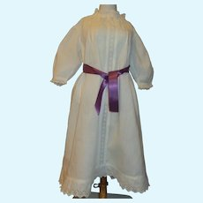 Lovely White Cotton Dress for a Large Antique Doll