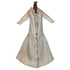 Pretty French Fashion White Cotton Doll Night Gown, Lace and Ribbons