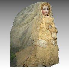 """Fabulous Jumeau Portrait Fashion Poupee Bride, 25"""", ca. 1882"""