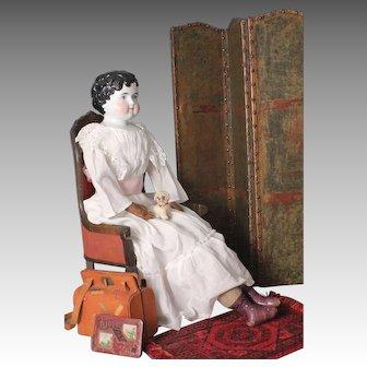 "Angelic 30"" Tall China Shoulder Head Doll, by ALT, Beck & Gottschalk, Ca. 1860s"