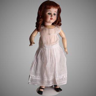 "Cute 28"" Antique German Bisque Child Doll, Marked ""7"""