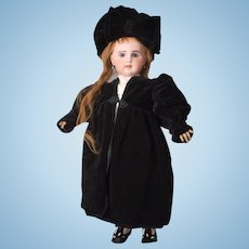 Gorgeous Black Velvet Coat & Black Velvet Hat with Large Bow