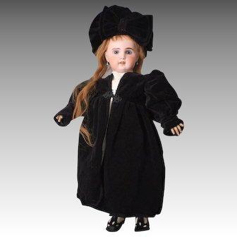 Gorgeous Black Velvet Coat & Black Velvet Hat for Large Bisque Dolls