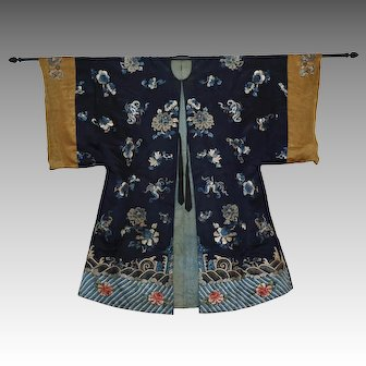 19th Century Antique Embroidered Blue Silk Chinese Robe
