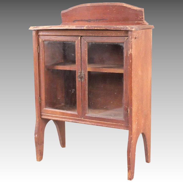 Antique / Vintage Miniature China Cabinet with Glass-Pane Doors - Antique / Vintage Miniature China Cabinet With Glass-Pane Doors