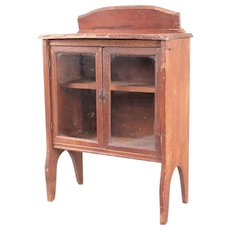 Antique / Vintage Miniature China Cabinet with Glass-Pane Doors