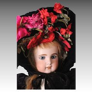 Fabulous Vintage French Velvet Hat w/ Silk Flowers, for Large Doll ~ Jumeau. Bru. Steiner. FG
