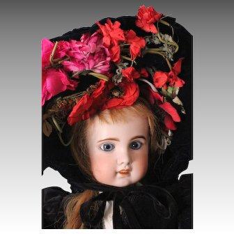 Fabulous Vintage French Velvet Hat w/ Silk Flowers, for Large Doll ~ Jumeau. Bru. Steiner. FG