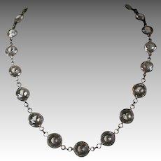 Vintage Deco Sterling Bezel Set Crystal Necklace