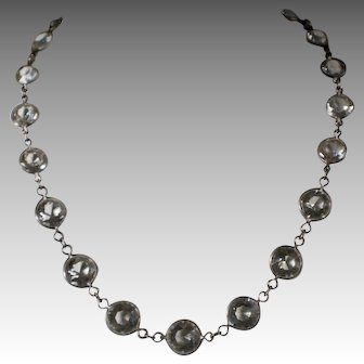 Vintage Deco Sterling Bezel Set Crystal Necklace