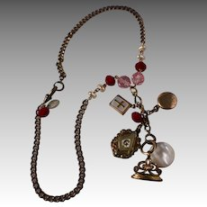 Antique Victorian 9K Gold Chain & Fob Necklace w/ Glass Beads & Charms