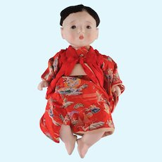 "Marvelous Vintage Japanese Gofun Boy Doll, 14"" Tall"