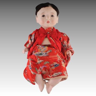 "Marvelous Vintage Japanese Gofun Boy Doll, 14"" Tall"