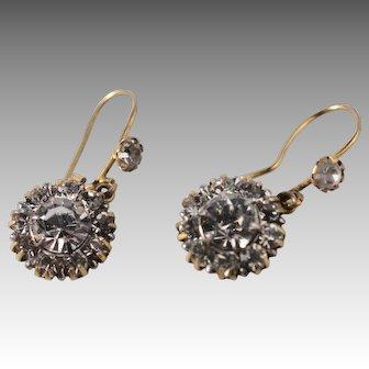 Antique Edwardian 9Kt Gold Paste Dangle Earrings