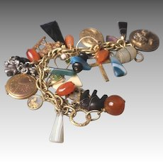 Victorian to Vintage Gold-Filled & Sterling Silver Fob Charm Bracelet
