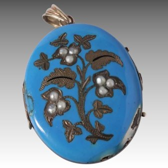 Antique Victorian 10K Gold, Blue Enamel Locket/Pendant with Seed Pearls