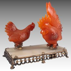Rare Antique Edward I Farmer Chinese Jade & Carnelian Roosters & Sterling Silver Bell Push