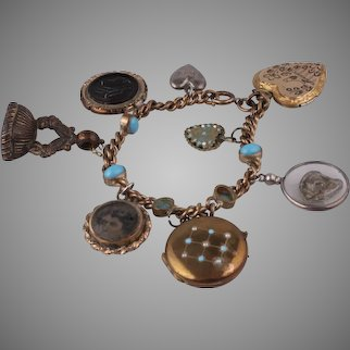 Exquisite Antique Victorian Gold-Filled & Turquoise Fob Charm Locket Bracelet