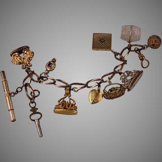 Antique Victorian Stanhope Gold-Filled Locket FOB Charm Bracelet