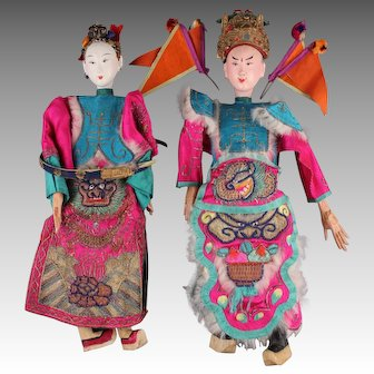 """Exquisite Pair Vintage Chinese Opera Dolls, Male (14.5"""") & Female (13.5"""")"""