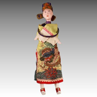 """Stunning Antique Chinese Male Opera Doll, 17"""", ca. late 1800s ~ early 1900s"""