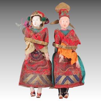 Magnificent Pair Antique Chinese Opera Dolls, ca. 1890-1920