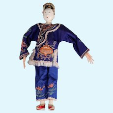 "Antique Chinese Female Opera Doll, 10.5"", in Indigo, ca. late 1800s ~ 1920"