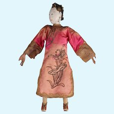 """Antique Chinese Opera Doll, 10"""", in Pink, ca. late 1800s ~ 1920"""