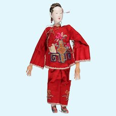 """Antique Chinese Female Opera Doll, 10.5"""", ca. 1890s ~ 1920s, in Red"""