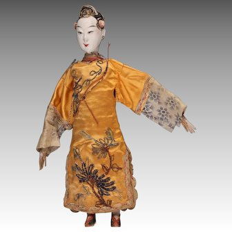 """Antique Chinese Opera Doll, 9 - 1/2"""", ca. late 1800s ~ 1920,"""