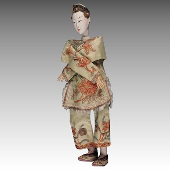 """Antique Chinese Opera Doll, 10 - 1/2"""", ca. late 1800s ~ 1920"""