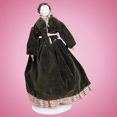 """Beautiful Antique 15"""" Flat-Top China Shoulder Head Doll, Ca. 1870"""